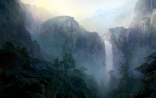 Next: Mist Mountains Waterfall Trees