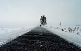 Winter Road Hitchhiker wallpapers and stock photos