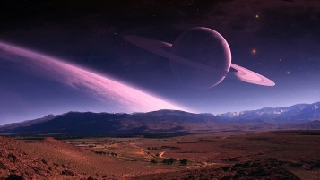 Purple Planet Stars Landscape wallpapers and stock photos