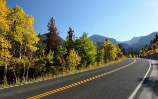 Sky Mountain Autumn Trees Road wallpapers and stock photos