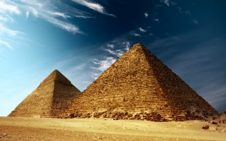 Blue Sky & Egypt Pyramids wallpapers and stock photos