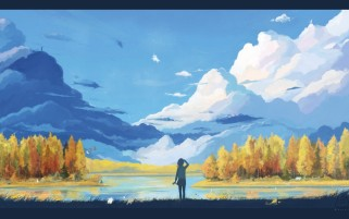 Anime Artwork Landscape wallpapers and stock photos