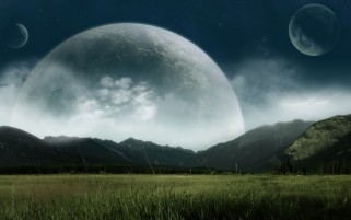 Moon Clouds Planets Field wallpapers and stock photos