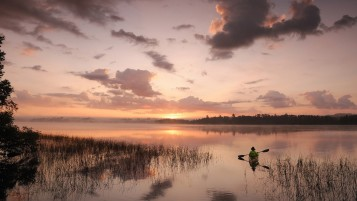 Canoe Ride Lake Sunset wallpapers and stock photos