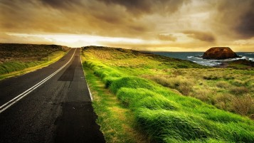 Road Grass Sea Fields Rock wallpapers and stock photos