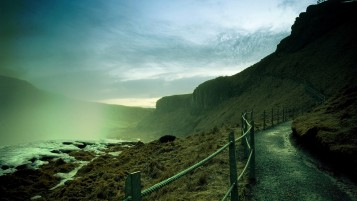 Mountain Path Clouds Fog Snow wallpapers and stock photos