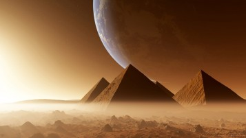 Digital Pyramids Desert & Fog wallpapers and stock photos
