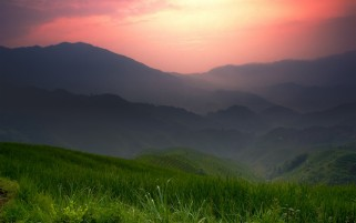 Random: Red Sky Mountains Grass Field