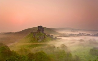 Castle Ruin Nature & Fog wallpapers and stock photos