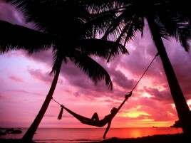 Sunset Beach Hamaca Chillout wallpapers and stock photos