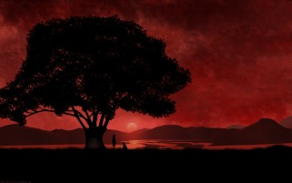 Anime Red Sunset & Tree wallpapers and stock photos