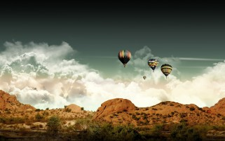 Hot Air Balloons & Scenery wallpapers and stock photos