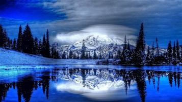 Shiny Mountain Trees Snow Lake wallpapers and stock photos