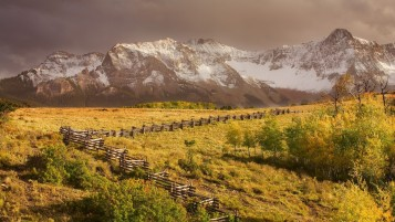 Mountains Field Trees & Fences wallpapers and stock photos