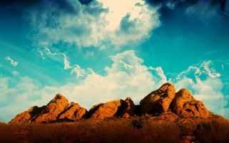Clouds Sky Rocks Plants Desert wallpapers and stock photos