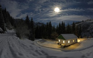 Clouds Moon Trees Snow & House wallpapers and stock photos