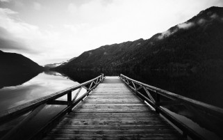 Pier Lake & Scenery Monochrome wallpapers and stock photos