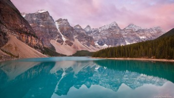 Mountains Forest & Aqua Lake wallpapers and stock photos