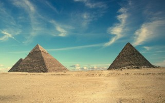 Sky Desert & Egypt Pyramids wallpapers and stock photos