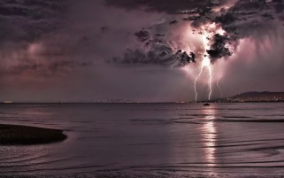 Pink Storm Lightning & Ocean wallpapers and stock photos
