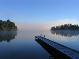 Pier Lake Fog & Trees wallpapers and stock photos
