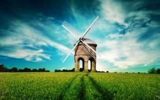 Windmill Sky & Grass Field wallpapers and stock photos