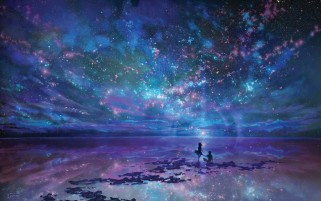 Night Stars Ocean & Couple wallpapers and stock photos
