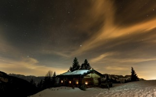 Night Stars Lodge & Snow wallpapers and stock photos