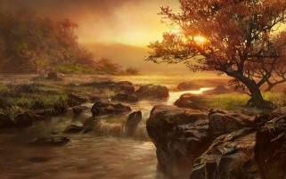 Sunset Trees Cascada y rocas wallpapers and stock photos