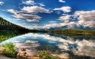 Clouds Mountains Trees & Lake wallpapers and stock photos