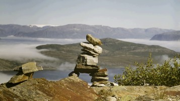 Mountain Stacked Stones & Lake wallpapers and stock photos
