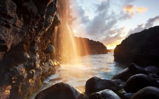 Waterfall River Cliff & Stones wallpapers and stock photos