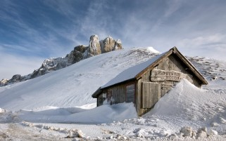 Snow House & Rocks Winter wallpapers and stock photos