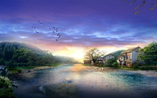 Random: Digital Houses Scenery & River