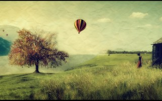 Tree Balloons Grass & Woman wallpapers and stock photos
