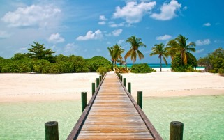 Wooden Bridge Ocean & Island wallpapers and stock photos