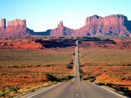 Wide Desert Road & Mountains wallpapers and stock photos
