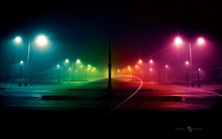 City Night & Rainbow Light wallpapers and stock photos