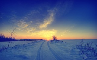 Random: Sunset Horizon Road & Snow