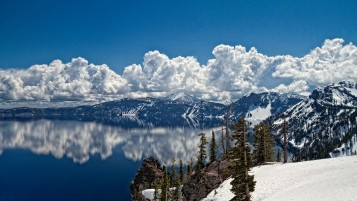 Mountain Clouds Sea Trees Snow wallpapers and stock photos