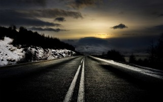 Black Road & Winter Scenic wallpapers and stock photos