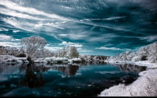 Aqua Lake Sky & Snow Scenic wallpapers and stock photos