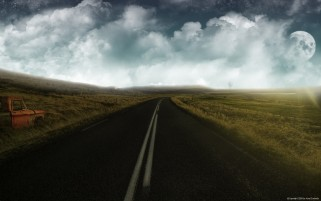 Nubes Road Luna Campos y coches wallpapers and stock photos
