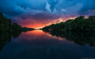 Sunset Lightning Forest River wallpapers and stock photos