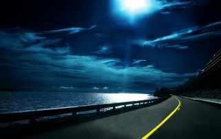 Moon Night Ocean & Road wallpapers and stock photos