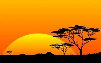 Yellow Sun & Orange Sky Africa wallpapers and stock photos