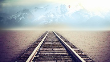 Rail Road Mountain Desert Fog wallpapers and stock photos