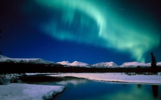 Aurora Mountains Snow & Sea wallpapers and stock photos