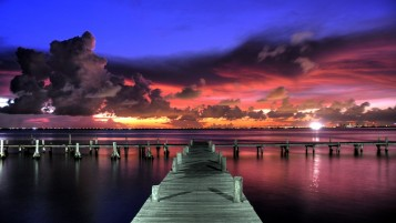 Dock Ocean Clouds & Red Sky wallpapers and stock photos