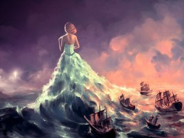Water Dress & Ships Woman wallpapers and stock photos
